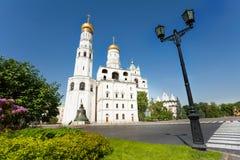 Ivan Grozny Bell Tower, Tsar Kolokol across road Stock Photos