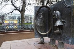 Moscow, Russia, Bas Relief on Krylov`s fable near Patriarch`s ponds. Ivan Krylov 1769 – 1844 is a Russian poet and fabulist. At the Patriarch`s ponds royalty free stock images