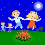 Ivan Kupala holiday scene. Boy and girl jump over fire in Ivan Kupala night (07.07 Russia, Ukraine), vector illustration Stock Photography
