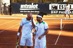 Ivan Ljubicic and Marcos Baghdatis. Play their first round match against Richard Gasquet and Jo-Wilfried Tsonga at Internazionali BNL, Rome Royalty Free Stock Photos