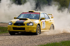 Ivan Smirnov auf Subaru an der russischen Sammlung Stockbild
