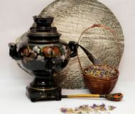 Ivan tea with painted samovar stock images