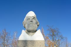 Ivan Turgenev's monument in Orel, Russia under snow. Copyspace Royalty Free Stock Image