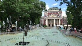 Ivan Vazov National Theatre in Sofia stock videobeelden