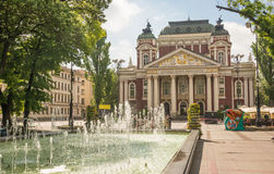 Ivan Vazov theater in Sofia Bulgaria. The beautiful building of the Ivan Vazov Theater and the fountain in front of it in Sofia, Bulgaria Royalty Free Stock Photos