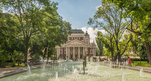 Ivan Vazov theatre and fountain. Fountain in front of Ivan Vazoz theater, Sofia, Bulgaria Royalty Free Stock Images