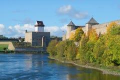 Ivangorod堡垒和埃尔曼城堡的看法  俄罗斯和爱沙尼亚的边界 库存图片