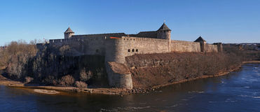 Ivangorod. ancient fortress at the border of Russia and Estonia royalty free stock photography