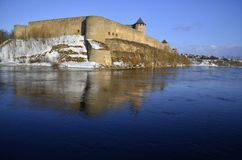 Ivangorod castle in winter Stock Photography