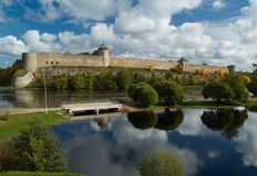 Ivangorod Festung. Russland Stockfotos
