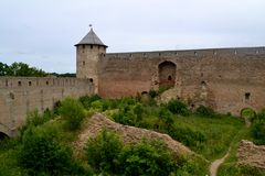 Ivangorod Fortress. Russian medieval castle Stock Photos