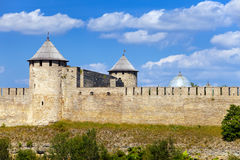 Ivangorod fortress at the border of Russia and Est Royalty Free Stock Photography
