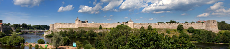 Ivangorod fortress at the border of Russia and Estonia Royalty Free Stock Photography