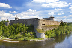 Ivangorod fortress at the border of Russia and Estonia Stock Photos