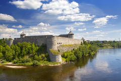 Ivangorod fortress at the border of Russia and Estonia Stock Images