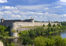 Ivangorod fortress at the border of Russia and Estonia Royalty Free Stock Images