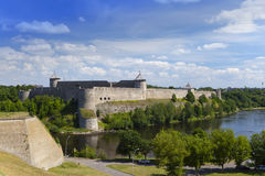 Ivangorod fortress at the border of Russia and Estonia Royalty Free Stock Photo