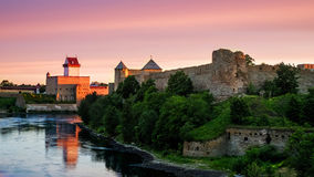 Ivangorod fortress and Castle of Herman Stock Photo