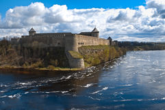 Ivangorod fortress with cloudy sky in background Royalty Free Stock Image