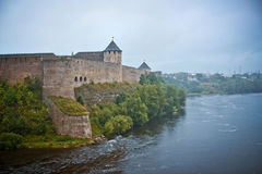 Ivangorod Fortress in fog Stock Photos