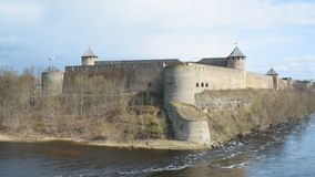 Ivangorod Fortress. View from Estonian side stock footage