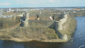 Ivangorod Fortress. View from Estonian side stock video footage