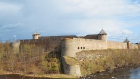 Ivangorod Fortress. View from Estonian side stock video