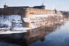 Ivangorod fortress at Narva river in cold winter Stock Photo