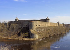 Ivangorod fortress on Narva river in Russia Royalty Free Stock Photo