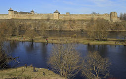 Ivangorod fortress on Narva river in Russia Royalty Free Stock Images