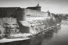 Ivangorod fortress at Narva river in winter season Royalty Free Stock Images