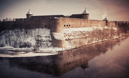 Ivangorod fortress at Narva river in winter Stock Photo