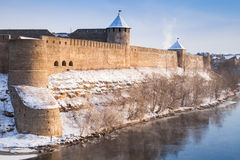Ivangorod fortress at Narva river in winter time Stock Photos