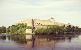 Ivangorod Fortress on the Russian bank of the Narva River. stock photography