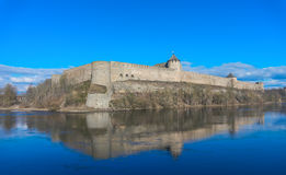 Ivangorod fortress on sunny day Royalty Free Stock Photography