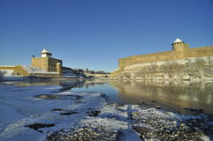 Ivangorod and Narva castles in winter Royalty Free Stock Photography