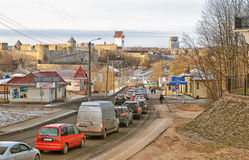 Ivangorod Rusia Ruso - frontera estonia fotos de archivo