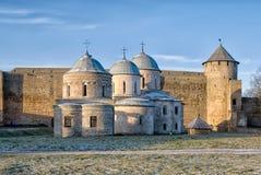 Ivangorod. Russia. Orthodox churches in medieval Ivangorod Fortress Stock Photos