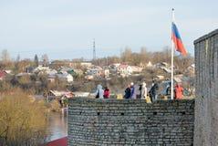 Ivangorod. Russia. People in Ivangorod Fortress Royalty Free Stock Photo
