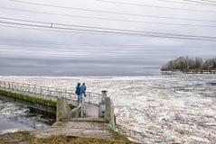 Ivangorod Ryssland Ryss - estländsk gräns med den Narva behållaren royaltyfria foton