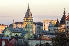 Ivano-Frankivsk,乌克兰- 2017年11月30日:与res的都市风景 免版税库存图片