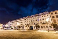 Ivano-Frankivsk,乌克兰- 2017年12月22日:夜视图  免版税库存照片