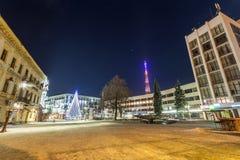Ivano-Frankivsk,乌克兰- 2017年12月22日:夜视图  免版税图库摄影