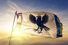 Ivano-Frankivsk Oblast del tessuto del panno del tessuto della bandiera dell'Ucraina che ondeggia sulla nebbia superiore della fo fotografia stock libera da diritti