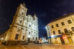 Ivano-Frankivsk, Ucrânia - 22 de dezembro de 2017: Opinião da noite do Imagens de Stock
