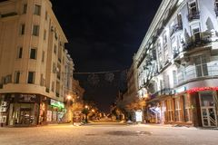 Ivano-Frankivsk, Ucrânia - 22 de dezembro de 2017: Opinião da noite do Fotos de Stock