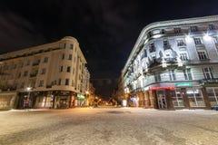 Ivano-Frankivsk, Ucraina - 22 dicembre 2017: Vista di notte del Fotografia Stock Libera da Diritti