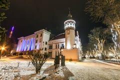 Ivano-Frankivsk, Ucrania - 22 de diciembre de 2017: Opinión de la noche del Foto de archivo libre de regalías