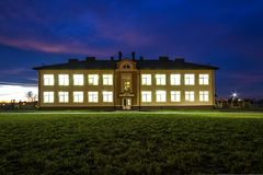 Ivano-Frankivsk, Ukraine - December 22, 2017: New modern building of kindergarten in Uhornyky. royalty free stock images