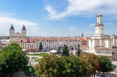 View of city center and city hall tower of western ukrainian cit Stock Photography